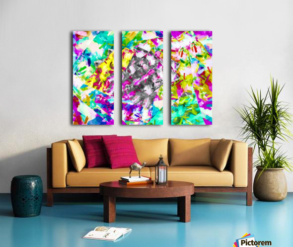 psychedelic splash painting abstract in pink blue yellow green purple Split Canvas print