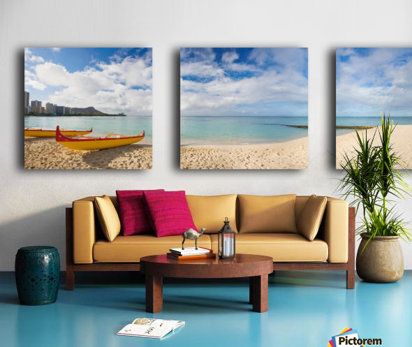 Hawaii, Oahu, Waikiki, Outrigger Canoes On The Beach With A Rainbow And Diamond Head In The Background. Split Canvas print