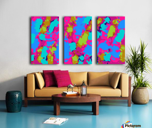 splash graffiti painting abstract in pink blue green Split Canvas print