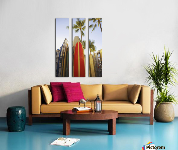 USA, Hawaii, Oahu, Close up view of colorful surfboards in surfboard rack on Waikiki Beach; Waikiki Split Canvas print
