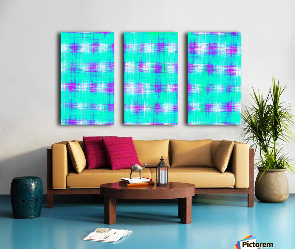 plaid pattern graffiti painting abstract in blue green and pink Split Canvas print