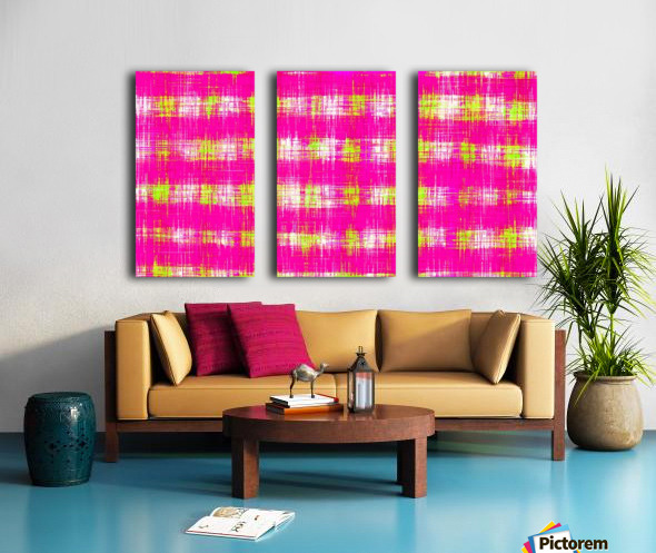 plaid pattern graffiti painting abstract in pink and yellow Split Canvas print