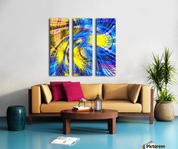 geometric psychedelic splash abstract pattern in blue and yellow Split Canvas print
