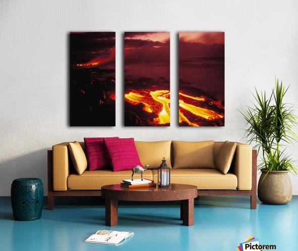 Hawaii, Big Island, Hawaii Volcanoes National Park, Lava Flow Glows In Early Dawn Split Canvas print