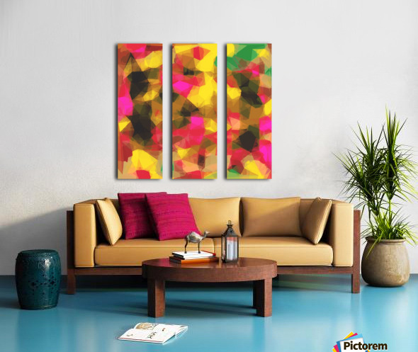 psychedelic geometric polygon shape pattern abstract in pink yellow green Split Canvas print