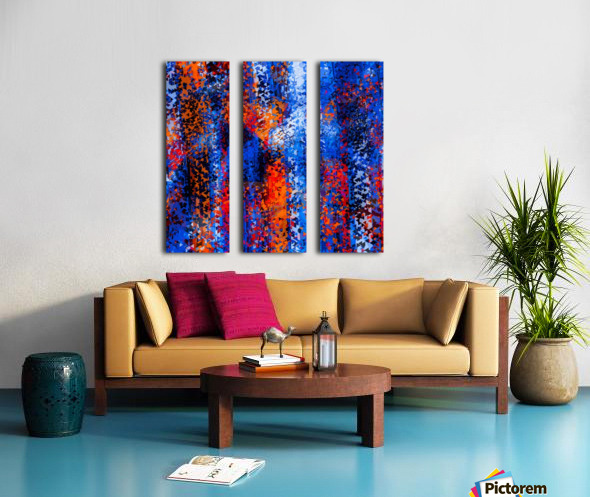 psychedelic geometric polygon shape pattern abstract in blue red orange Split Canvas print