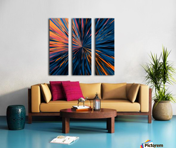 psychedelic splash painting abstract pattern in orange brown pink blue Split Canvas print