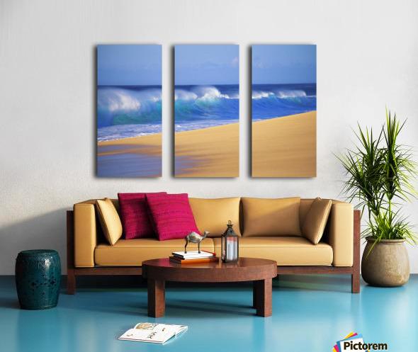 Shorebreak Waves Along Sandy Beach, Blue Sky Split Canvas print