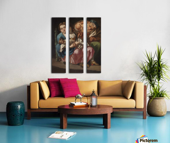 An old lady with little girl and kitty Split Canvas print