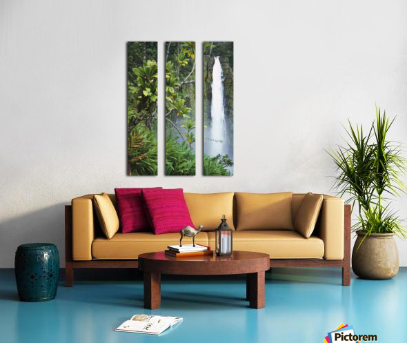 Hawaii, Big Island, Akaka Falls Surounded By Ti-Leafs And Greenery. Split Canvas print