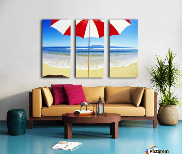 Red And White Umbrella On The Beach, Blue Sky And Ocean Split Canvas print