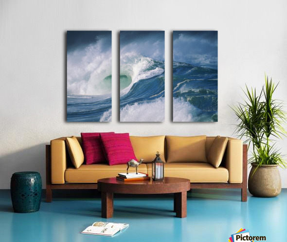 Turbulent Shorebreak Waves With Whitewash. Split Canvas print