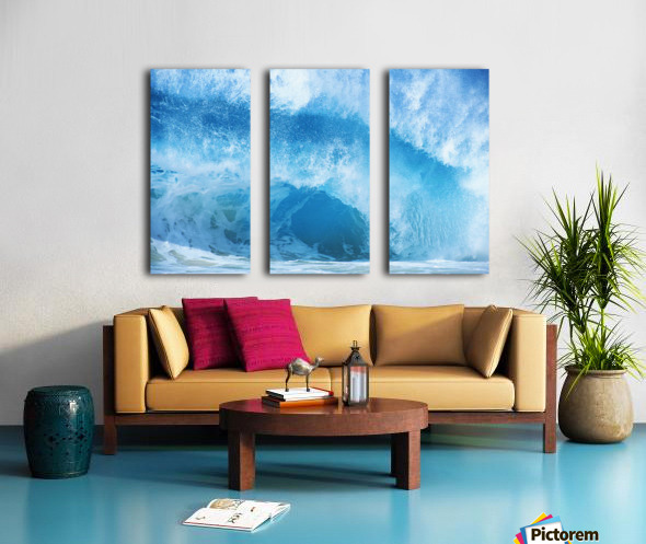 Closeup Of Crashing, Blue Wave Split Canvas print
