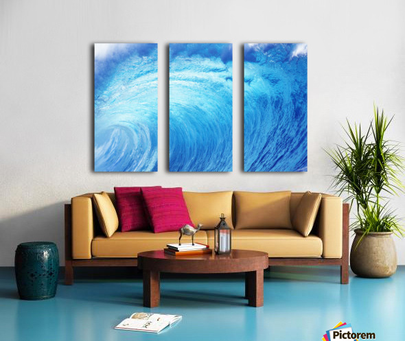 Hawaii, Oahu, North Shore, Curling Wave At World Famous Pipeline. Split Canvas print