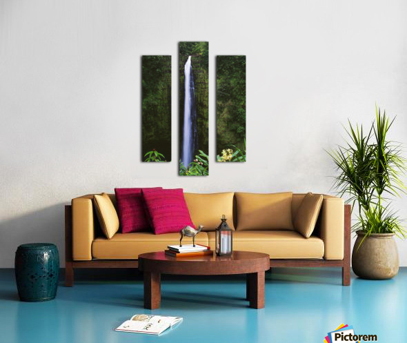 Hawaii, Big Island, Akaka Falls, Tropical Flowers Blooming In Foreground. Canvas print