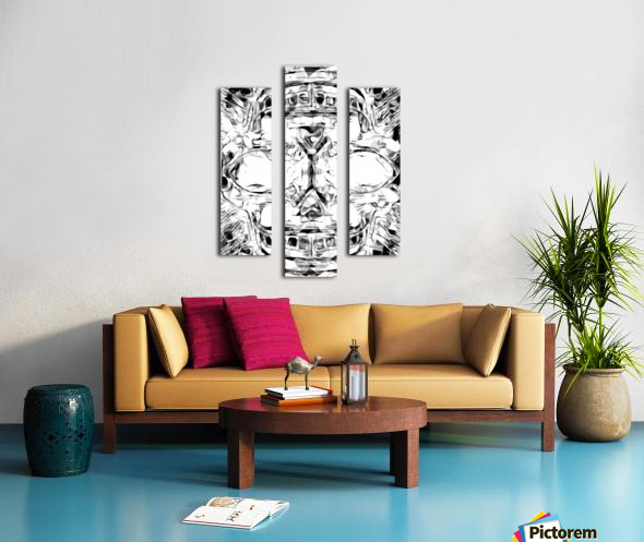 psychedelic skull art geometric triangle abstract pattern in black and white Canvas print