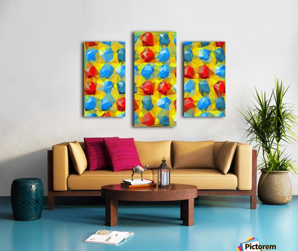 geometric polygon abstract pattern yellow blue red Canvas print