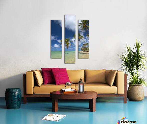 Hawaii, Palm Trees Lean Over Beach, Calm Turquoise Ocean, Dramatic Sky. Canvas print