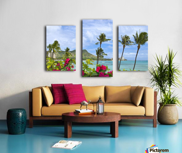 Hawaii, Oahu, Diamond Head, Waikiki, Palm Trees And Bougainvillea Foreground. Canvas print