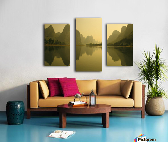 China, Guilin, Piled Silk Mountains, Li River With Reflections In Water A72H Canvas print