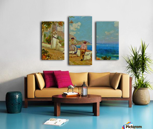 Courting couple in Naples Impression sur toile