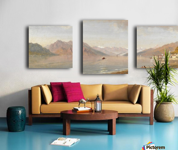 Lake view with mountains in the back Canvas print