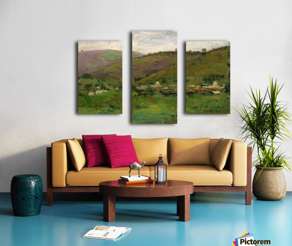 Landscape with houses on an Italian hill Impression sur toile