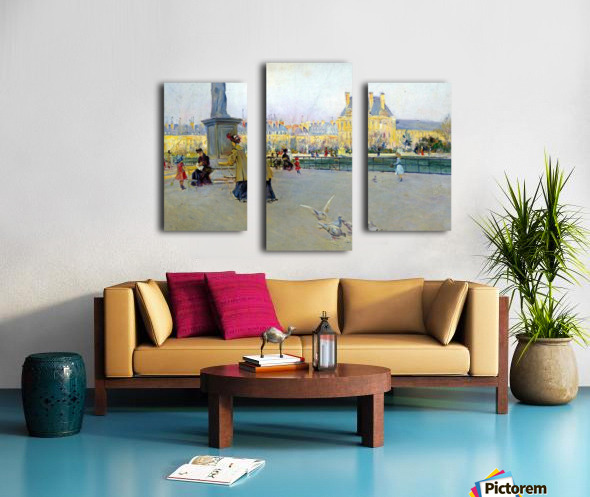 City view with figures and birds in Paris Impression sur toile