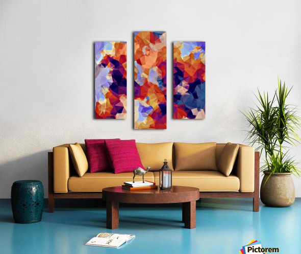 psychedelic geometric polygon pattern abstract in orange brown blue purple Canvas print
