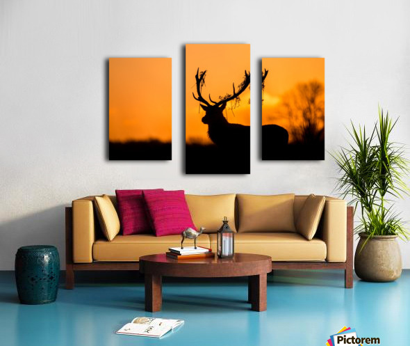 Red Deer Stag Silhouette Canvas print
