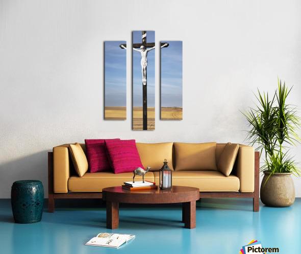 Crucifix and a farm field in the background;Saskatchewan canada Canvas print