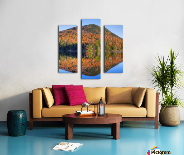 Mountain reflected in Sugarloaf pond in autumn; Quebec, Canada Canvas print