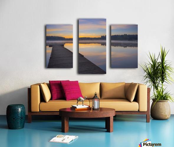 Reflection of a beautiful serene sunrise on peaceful Scott lake; Washington, United States of America Canvas print