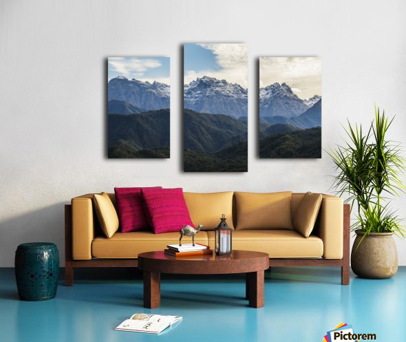 Panoramic view of the Greater Caucasus Mountains, as seen from the road between Jvari and Mestia, Zemo Svaneti National Park; Samegrelo-Zemo Svaneti, Georgia Canvas print