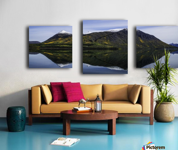 Reflection of the mountains surrounding Carcross reflected in the still waters; Yukon, Canada Canvas print