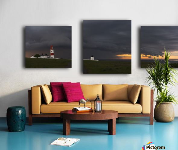 Souter Lighthouse under ominous storm clouds; South Shields, Tyne and Wear, England Canvas print