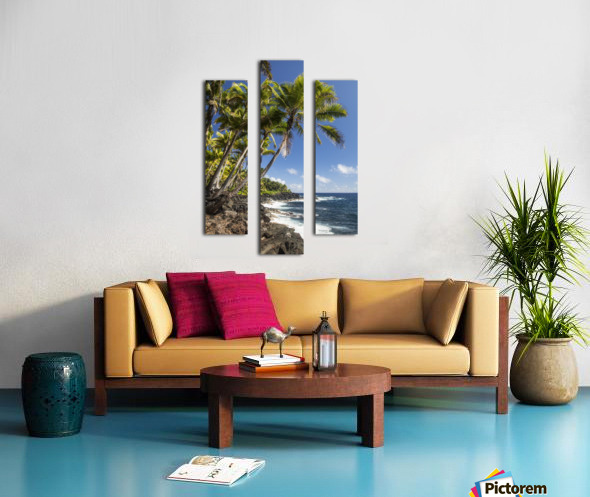 Palm trees along the Puna coastline, near Kalapana; Island of Hawaii, Hawaii, United States of America Canvas print