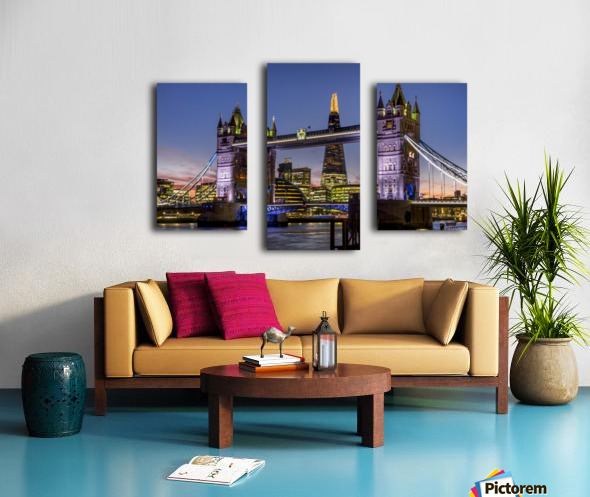 Shard with Tower Bridge at sunset; London, England Canvas print
