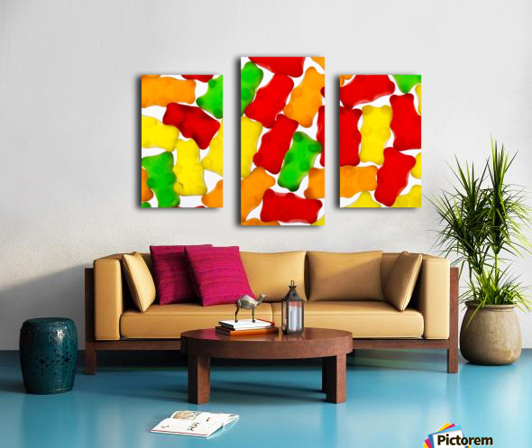 Colourful candied gummy bears backlit; Calgary, Alberta, Canada Canvas print