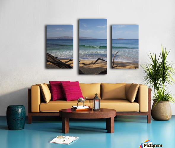 View of Kahoolawe and Molokini Islands from Little Beach at Makena Beach State Park; Maui, Hawaii, United States of America Canvas print