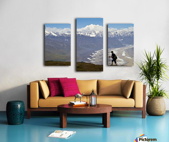 Silhouette Of A Man Hiking In The Tokosha Mountains Above The Tokositna Glacier With Mt. Hunter And The Alaska Range In The Background, Denali National Park & Preserve, Interior Alaska, Summer Canvas print