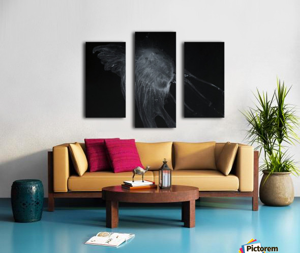 Glowing grey jellyfish in the dark water Canvas print
