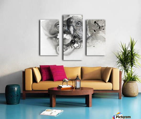 Illustration of a bird's face surrounded by mottled textures and abstract Canvas print
