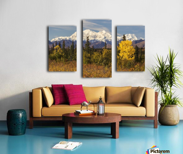 Denali, viewed from south of Cantwell, from the Parks Highway in Interior Alaska; Alaska, United States of America Canvas print