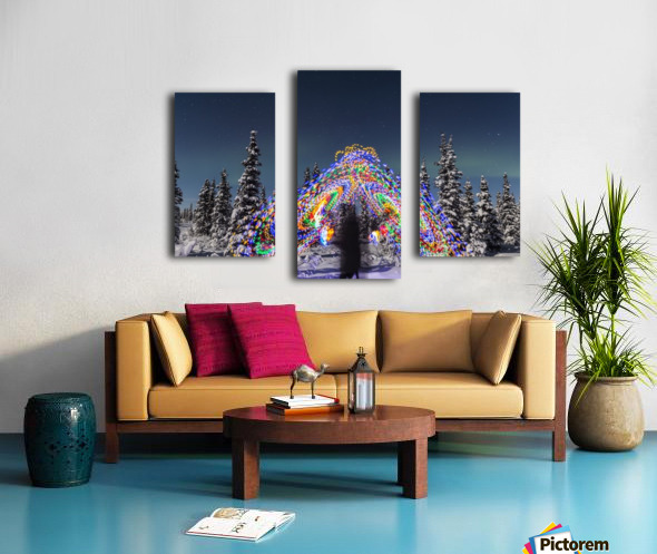The Aurora Borealis dances over the top of a vibrant spiral light painting, the blurry figure of a man in the middle of the light painting, moonlight casting shadows on snow covered spruce trees on a clear winter night, interior Alaska; Gakona, Alaska, Un Canvas print
