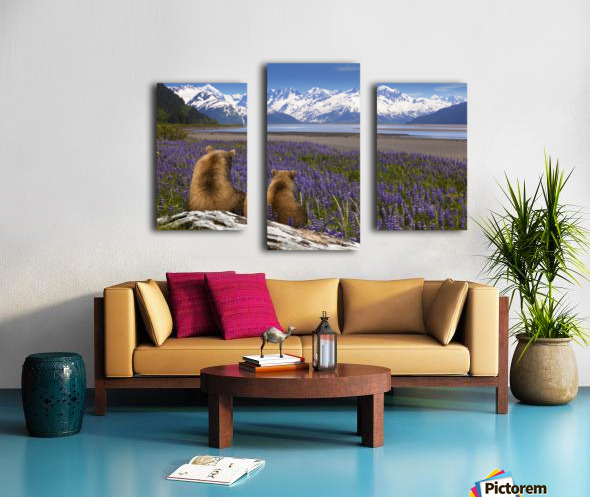 COMPOSITE: Grizzly Sow & cub sit in lupine along Seward Highway, Turnagain Arm, Southcentral Alaska Canvas print