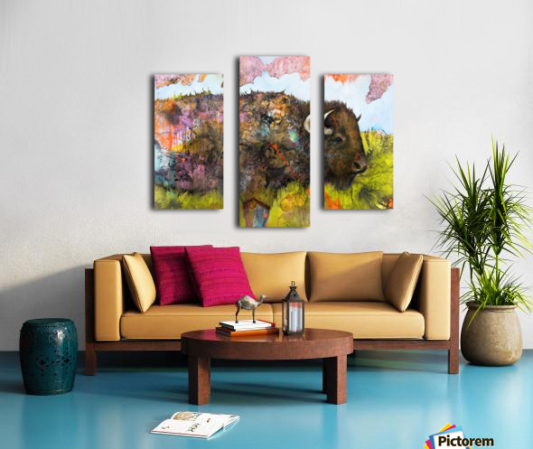 Illustration of a buffalo with colourful splashes and landscape Canvas print