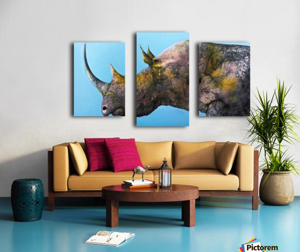 Illustration of a white rhinoceros against a blue background Impression sur toile