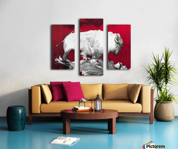 Illustration of a bison against a red background Canvas print