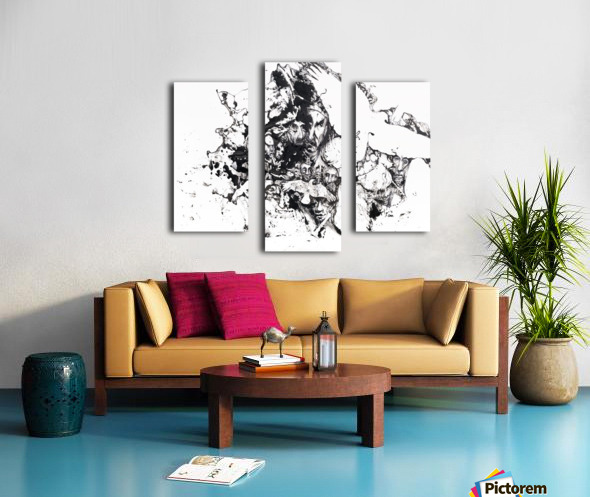 Black and white illustration of birds and human faces Impression sur toile